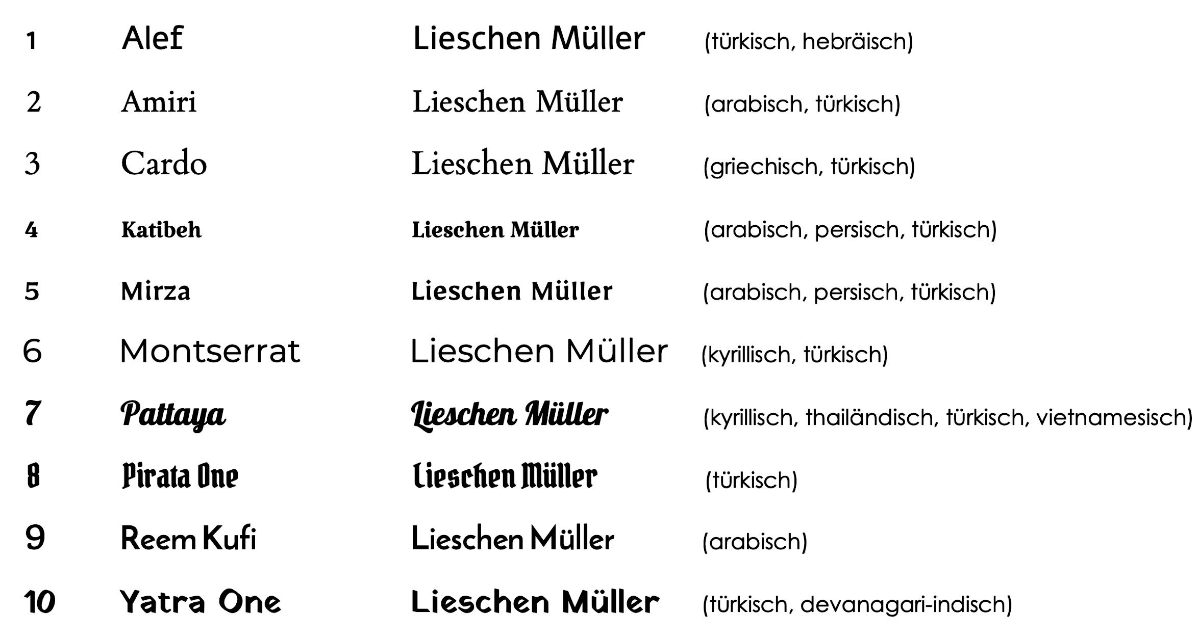 (Über das europäische hinaus können auch Buchstaben weiterer Sprachen abgebildet werden. Bitte beachten Sie hierfür die jeweiligen Anmerkungen.)